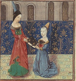 Margaret of Nevers - Christine de Pizan presents her book to Margaret