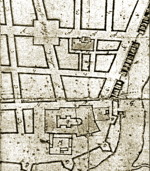 1681 Trondheim fire - Section of Cicignon's city plan for Trondheim, after the 1681 fire.