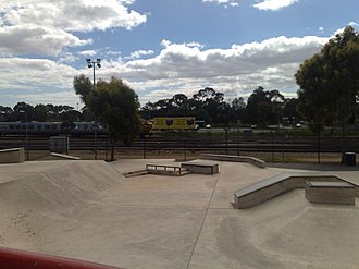 City Sk8 Park, Adelaide - The skate park from the South, with the rail line to Adelaide railway station in the background