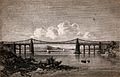 Civil engineering; the Menai suspension bridge. Engraving. Wellcome V0024338.jpg
