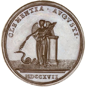 "John Croker (engraver) - Croker's medal to commemorate the Indemnity Act 1717, dated 1717, signed ""I. C."" for Iohannis Croker"
