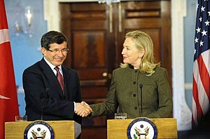 Turkey–United States relations - Turkish Foreign Minister Ahmet Davutoğlu and U.S. Secretary of State Hillary Clinton in Washington D.C., February 13, 2012.