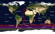 The clipper route followed by ships sailing between England and Australia/New Zealand passed around Cape Horn.