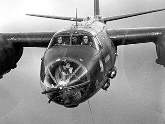Martin B-26 Marauder - Closeup view of a Martin B-26B Marauder in flight