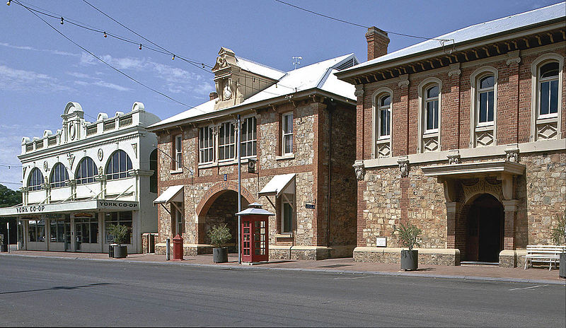 The Co-op, Post Office, and Courthouse on Stirling Terrace in York, Western Australia.