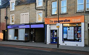 Lothian, Borders & Angus Co-operative Society - Funeral and travel premises in Channel Street, Galashiels, photographed in 2009 a few months after the merger with the Co-operative Group