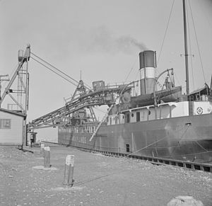 Canada Steamship Lines - Coalhaven, bulk freighter of CSL, loading coal in Oswego, New York, in October, 1941