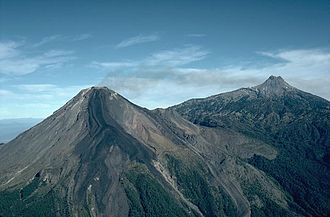 Volcán de Colima - Volcán de Colima is on the left with Nevado de Colima on the right.