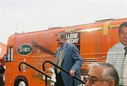 Brent Musburger departs the College GameDay bus in Austin, Texas.