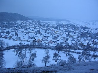 Colmberg - A view of the town from the castle in winter