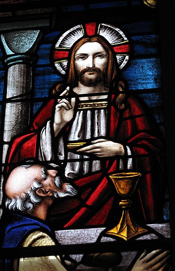 Detail of the Holy Communion window at St. Mat...
