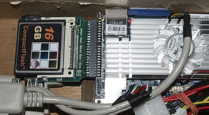 "CompactFlash - A 16-GB CompactFlash card installed in a 2.5"" IDE port with adapter"