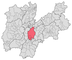 Location of Val d'Adige within Trentino.
