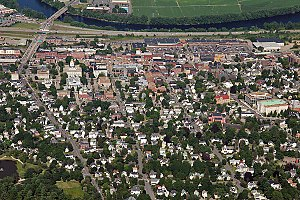 Concord, New Hampshire - Aerial view of downtown Concord (looking east)