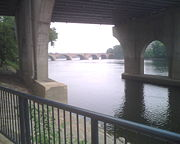 Founders Bridge over the Connecticut River with a view of the Bulkeley Bridge further upstream