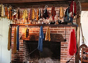 Yarn drying after being dyed in the early American tradition, at Conner Prairie living history museum.