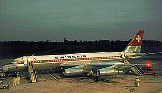 "Convair 990 Coronado - Swissair CV990A Coronado ""St Gallen"" at Manchester Airport in 1964"