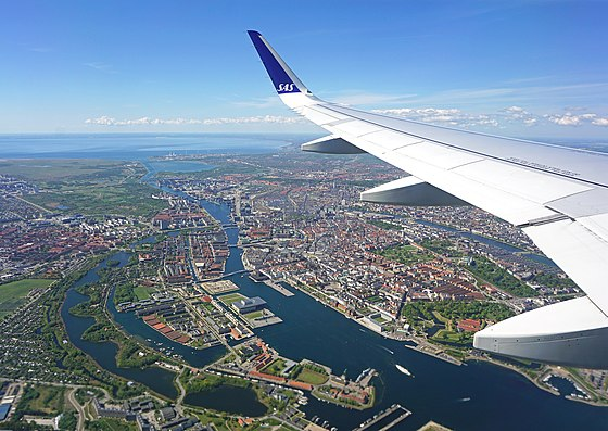 Aerial view of Copenhagen seen from a airplane departed from Copenhagen Airport, Kastrup. Copenhagen from air.jpg