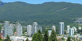 Skyline of Coquitlam, British Columbia's sixth largest city and suburb of Vancouver Coquitlam Town Centre Area.jpg