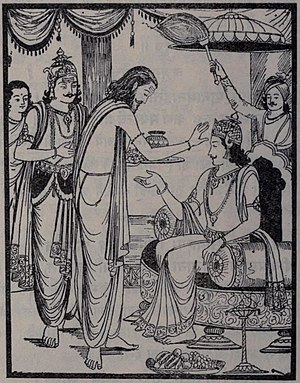 Karna Parva - Karna was the third commander-in-chief of Kauravas during the Kurukshetra War. Shown above is his coronation ceremony.