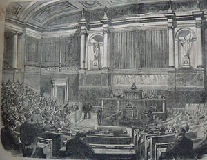 Corps législatif - The meeting chamber of the corps législatif, published in Le journal illustré, 1869.