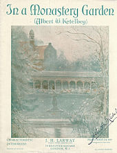 Cover sheet, signed by Ketèlbey, featuring an image of a garden and monastic cloisters