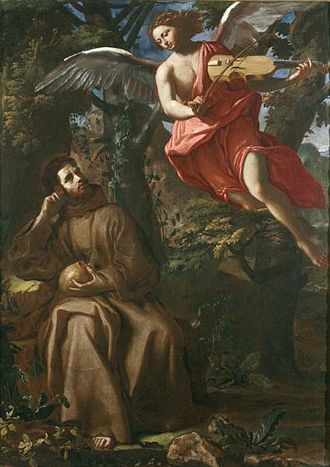 Francesco Cozza (painter) - Francesco Cozza, Saint Francis consoled by an Angel, Galleria Nazionale di Palazzo Arnone, Cosenza, Italy