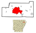 Craighead County Arkansas Incorporated and Unincorporated areas Jonesboro Highlighted.svg