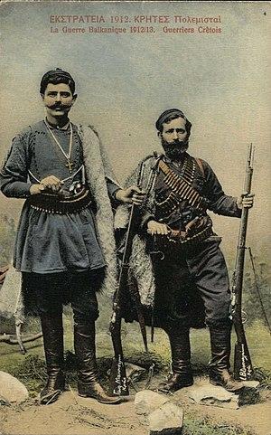 English: Two Cretan volunteers in the Balkan W...