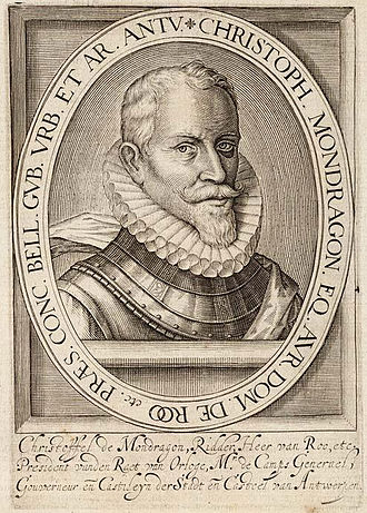 Relief of Goes - Engraving of Don Cristóbal de Mondragón, 1599.