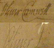 Cromwell's signature before becoming Lord Protector in 1653, and afterwards. 'Oliver P', standing for Oliver Protector, echoes the similar style in which English monarchs had signed their names: for example, 'Elizabeth R' standing for Elizabeth Regina.