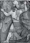 Ninurta shown in a palace relief from Nineveh
