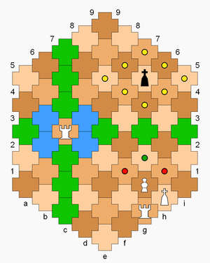 Cross Chess - The rook on c4 can move to any green-colored cell in the diagram (its file and rank) or any blue-colored cell (one diagonal step). The pawn can move to the cell with green dot or capture on a red dot. The black king can move to yellow dots. White has castled kingside.