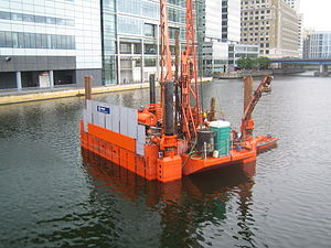 Canary Wharf railway station - Image: Crossrail works at West India Quay July 2007 GJ3