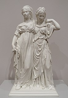 The Prinzessinengruppe: Schadow's famous statue of Friederica (right), with her sister, Louise (Source: Wikimedia)