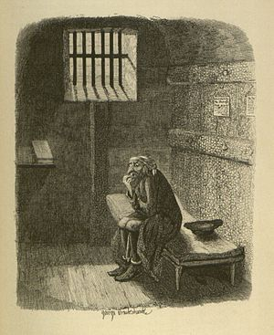 George Cruikshank - Fagin in his cell. Copperplate engraving, 1838