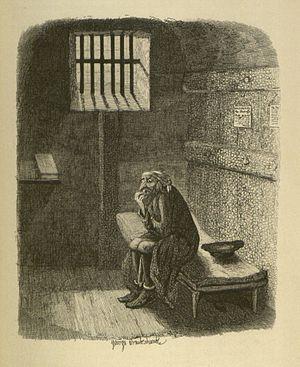 George Cruikshank - Fagin in his cell. Copperplate engraving, 1838
