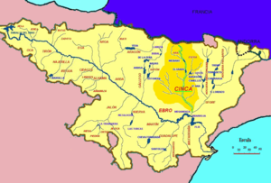 Cinca (Spain) - Map of the course of the Cinca