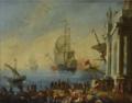 Déchargement dans un port, Adrien Manglard.png