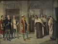 D. João I visita Nun'Álvares Pereira no Convento do Carmo em 1425 (1883) - Caetano Moreira da Costa Lima (1835-1898).png