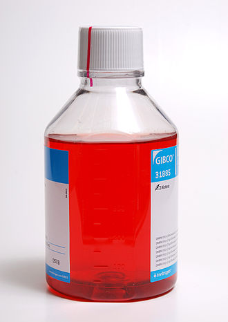Cell culture - A bottle of DMEM cell culture medium