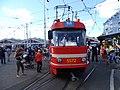 DOD vozovna Strašnice, mazací tramvaj, zepředu.jpg