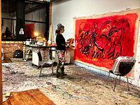 Danielle Monet Morse painting in her studio, 2014.jpeg