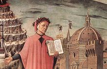Dante, poised between the mountain of purgatory and the city of Florence, displays the incipit Nel mezzo del cammin di nostra vita in a detail of Domenico di Michelino's painting, Florence, 1465 (Source: Wikimedia)