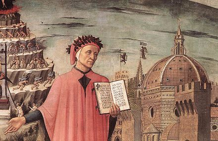 "Dante, poised between the mountain of Purgatory and the city of Florence, displays the famous incipit ""Nel mezzo del cammin di nostra vita"" of the Divine Comedy in a detail of Domenico di Michelino's painting, 1465 DanteDetail.jpg"