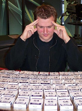 Dave Farrow - Dave Farrow setting his second Guinness World Record for Most Decks of Playing Cards Memorized in a Single Sighting at CTV Television Network studios in April, 2007