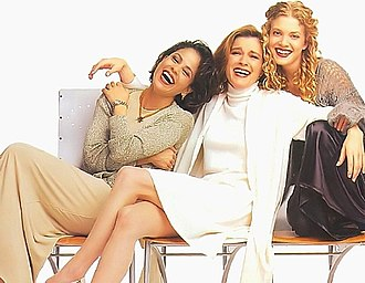 Kate Mulgrew - Kate Mulgrew with Voyager actresses Roxann Dawson and Jennifer Lien (1995).