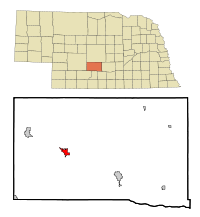 Dawson County Nebraska Incorporated and Unincorporated areas Cozad Highlighted.svg
