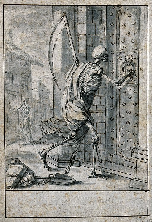 Death knocks at the doors of both the poor and the rich. Pen Wellcome V0042153