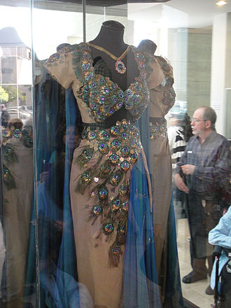 Samson and Delilah (1949 film) - The film's Academy Award-winning costumes include this peacock gown and cape designed by Edith Head and worn by Delilah (Hedy Lamarr) at the Temple of Dagon